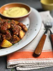 Patatas Bravas with Spicy Tomato Sauce and Allioli