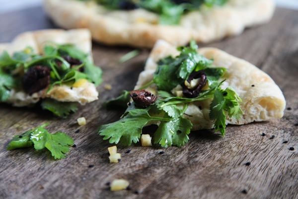 Moroccan Pizza with Preserved Lemons and Cilantro