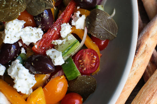Greek Salad with Caper Leaves