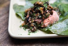 Salmon in Fig Leaves with Dried Fig and Walnut Salsa