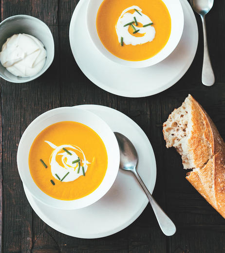 Carrot Soup with Anise and Creme Fraiche
