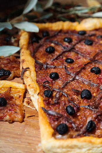 Warm Olive and Caramelized Onion Tart or Pissaladiere