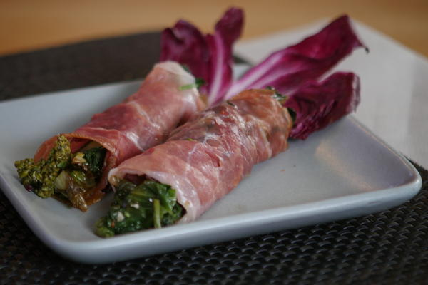 Grilled Broccoli Rabe Wrapped in Prociutto