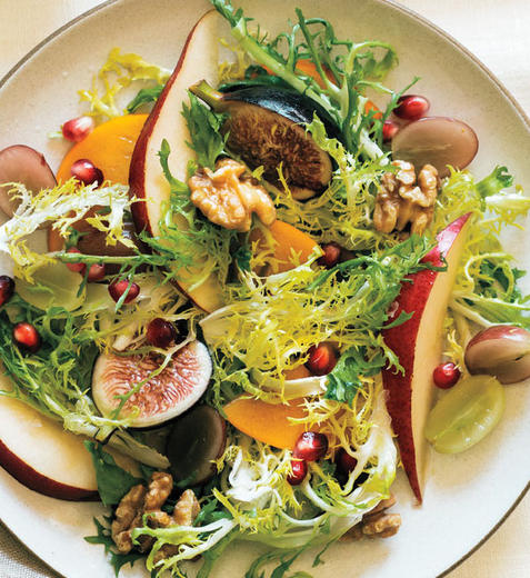 Autumn Salad with figs, grapes, pomegranate and persimmon