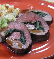Beef Tenderloin Rolled with Spring Greens