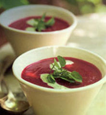 Oven-Roasted Beet Soup with Watercress
