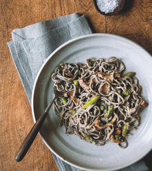 Buckwheat Linguini with Chanterelles, Peas and Asparagus
