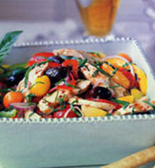 Grilled Chicken Salad with Olives and Sweet and Hot Peppers