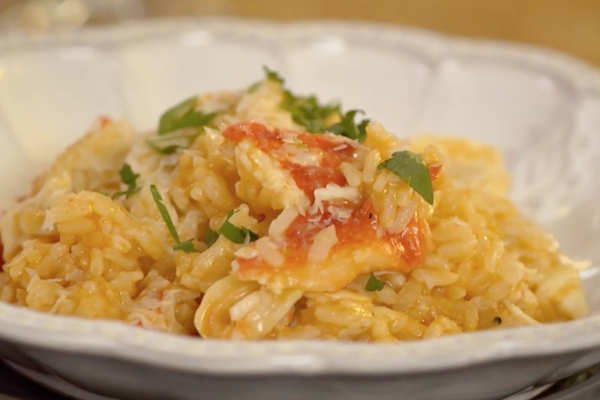 Quick Risotto Rosa with Alaskan King Crab and Citrus Gastrique
