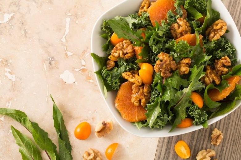 Dandelion, Kale, Cara Cara and Kumquat Salad with Spice-roasted Walnuts