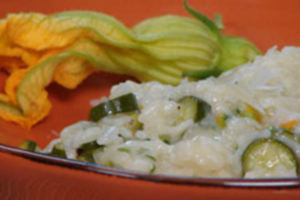 Farmer's Market Risotto with Zucchini and their Blossoms