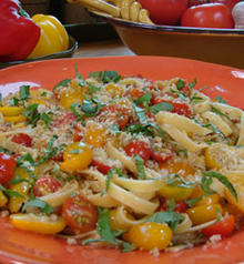 Fettuccine with Tomatoes, Basil and Crisp Bread Crumbs