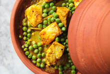 Sea Bass Tagine with Fennel Peas and Potatoes