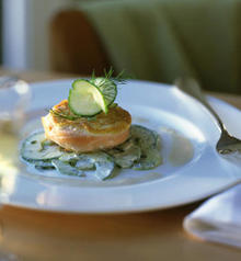 Horseradish-Crusted Salmon with Dilled Cucumbers with Crème Fraîche