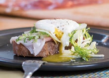 Open Face Toast with Fennel, Frisee, Grano Padana and Poached Egg