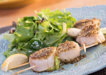 Coriander and Cardamom Dusted Scallop Skewers with Roasted Garlic and Lemon Vinaigrette