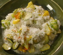 Farmer's Market Risotto with Squash Blossoms