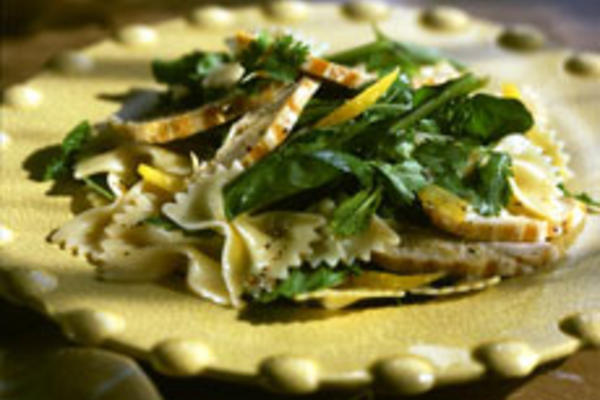 Farfalle Pasta with Lemon Chicken and Herb Salad