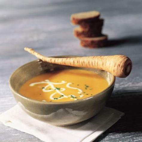 Roasted Parsnip and Carrot Soup with Spiced Crème Fraiche