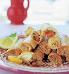 Moroccan Baked Phyllo Rolls with Shrimp and Scallops (Briouats)