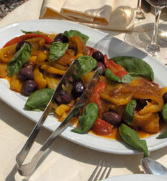 Salad of Roasted Peppers, Anchovies and Basil