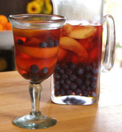 Rosé Sangria with Blueberries and Nectarines
