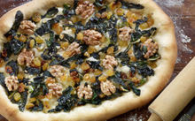 Spanish Coca with Wilted Greens, Walnuts and Raisins