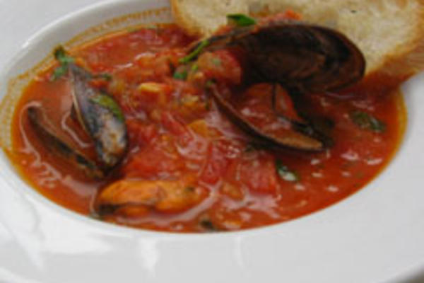 Spicy Mussel Stew with Tomatoes and Basil