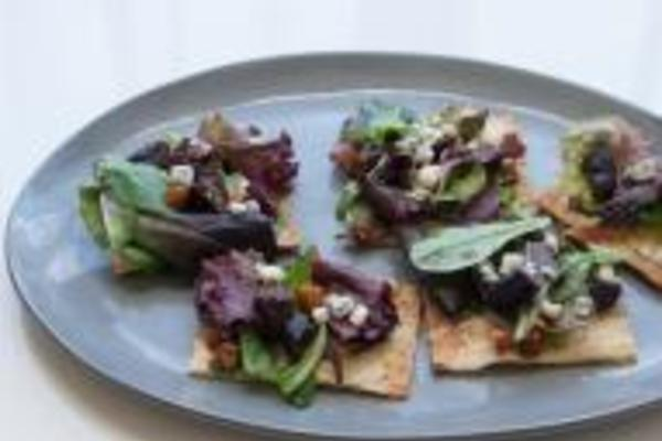 Lavash Pizza with Greens, Dried Figs, Gorgonzola and Almonds