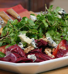 Watercress and Beet Salad with Gorgonzola and Walnuts