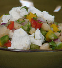 White Bean Salad with Peppers, Goat Cheese and Mint