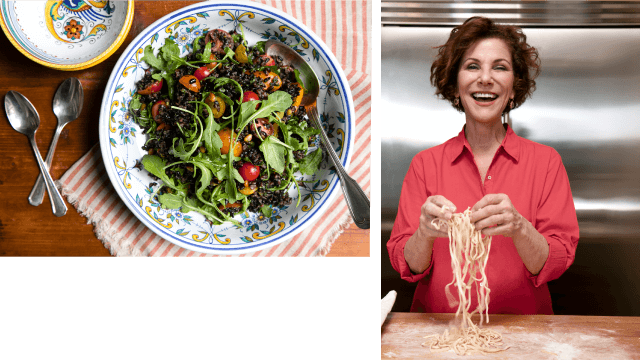 Salad and Joanne Weir holding pasta